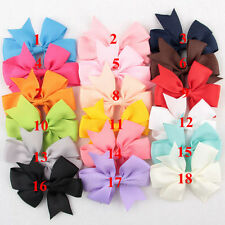 18 Pcs/Bag Hair Bows Kids Cloth Ribbon Boutique Lovely No Clips for Baby Girl E&