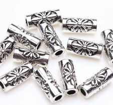 30Pcs Tibetan Silver Carving Plated Spacer Tube Loose Bead Jewelry Making Craft