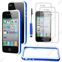 Housse Coque Etui Bumper Bleu / Blanc Apple iPhone 4S 4+Mini Stylet+3 Film écran