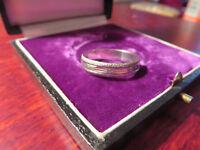 Schöner Silber Ring Rau Struktur Elegant Muster Matt Unisex Herren Damen Retro