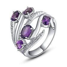 925 Sterling Silver Natural Gem Stones Amethyst Rings & Cz Jewelery Us 6,7,8,9