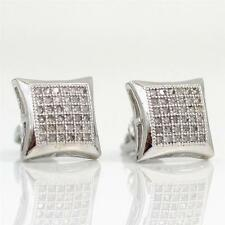 New Sterling Silver Micro Pave Diamond Cluster Stud Earrings