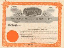 Hamilton Mammoth Mines > mining stock certificate share