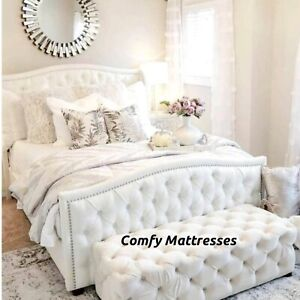 Plush Velvet Sierra Bed With Mattress Available In All Sizes and Colors