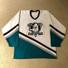 Vintage Anaheim Mighty Ducks CCM Maska Hockey Jersey NHL Large White 93-06 USA