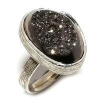 Tektite Druzy Natural Gemstone Handmade 925 Sterling Silver Ring Size 6.5 SR-225