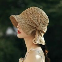 Sun Hat Wide Brim Floppy Summer Cap Women Beach Panama Straw Dome Bucket Shade