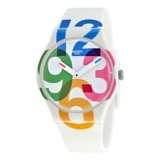 New Swatch White Colorful Numbers Silicone Strap Women Watch 42mm SUOW117 $70