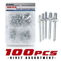 100 Aluminum POP Rivets Set 3/16 7/32 5/16 1/8 1/16 Inch Kit 5 Types