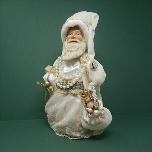 """Old World Saint Nick Tree Topper Decoration 13"""" Beige & Gold Stand up Decor Also"""