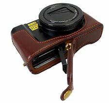 Real Leather Half Camera Case Bag for Panasonic LUMIX DMC - LX10 Coffee