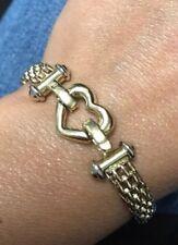 "Designer 14K Yellow Gold 7"" Heart Toggle Link Chain Bracelet"