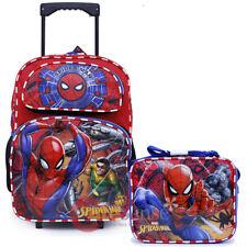 """Marvel Spiderman 16"""" Large School Roller Backpack Lunch Bag 2pc Book Bag Set"""