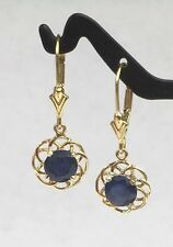 14k Solid Gold Leverback Cute One Stone Dangle Earrings, Natural Sapphire 2.5TCW