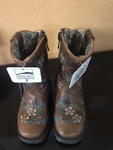 NEW Smoky Mountain Toddler 3 R Girls Floralie Brown Leather Cowboy Boots No Box