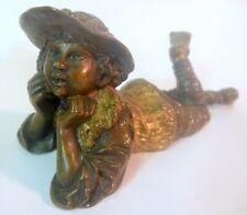 Exquisite Antique BRONZE SCULPTURE Statue of Boy Youth Gilt Detail