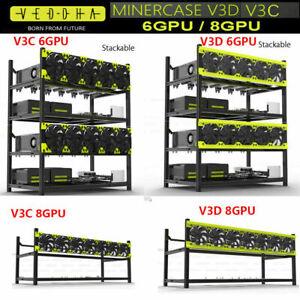Veddha 6 /8GPU Stackable V3D/V3C Rig Case Aluminum Open Air Mining Frame ETH/BTC