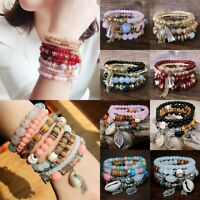 4Pcs Multilayer Natural Stone Shell Bracelet Crystal Beaded Charm Bangle Jewelry