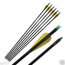 6 Fiberglass Arrow Hunter Nocks Fletched Target Practice Hunting Outdoor Archery