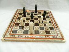Egyptian Inlaid Mother Of Pearl Wooden Chessboard Set Synthetic Pieces 15.75""