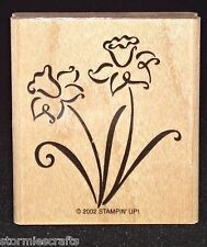 Flowers long Stem Rubber Stamp Single Htf Clean by Stampin Up Simply Spring