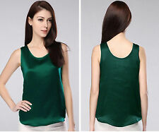 Womens Girls 19MM 100% Pure Silk Tank Tops T Shirts Singlet Blouse Size 4-28