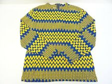 Japan Star Light Trading NY Yellow Blue Modernist Fashion Shirt Sweater Vintage