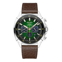BRAND NEW Seiko Gents Solar Chronograph Green Dial Leather Strap Watch SSC513