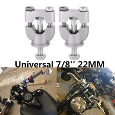 2pc Silver 7/8'' 22mm Motorcycle Handle Bar Mount Risers Clamp for ATV Dirt Bike