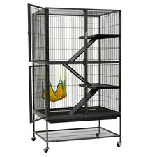 138cm 4 Level Wrought Iron Cat Ferret Cage Rabbit Hutch Hamster Hammock W Stand