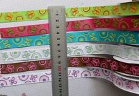 Satin Butterfly & Circles Print 16mm Wide 2 & 3 Metres 6 Colour Choice Shrt3A
