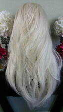Beautiful Platinum/White Blonde Mix Lace Front Wig Long Wavy Heat Safe