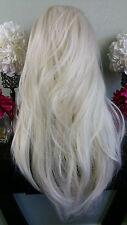 Beautiful Platinum/White Blonde Mix Lace Front Wig Long Wavy Heat Safe