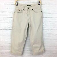 Eddie Bauer Women's Tan Denim Crop Pants Tan Cotton Capri Pants Petites 4