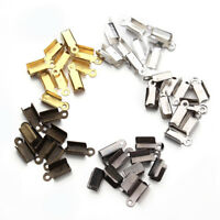 200pcs/lot End Caps Clasps Crimp Beads Connectors for Leather Cord Jewelry DIY