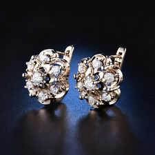 Fashion Flower Lotus 18K Yellow Gold Filled Huggies Diamond Topaz Women Earrings