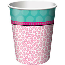 Sparkle Spa Birthday Party 8 ct 9 oz Hot Cold Paper Cups Pink Leopard Print