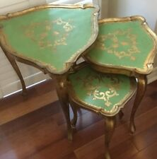 Antique Italian Tole Florentine Set of 3 Triangular Nesting Side Tables