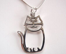 Happy Cut Out Cat Necklace 925 Sterling Silver Corona Sun Jewelry Kitty