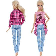 Rosa Karierte Jacke Weste Hose Kleidung Für Barbie Puppen Geschenk Zubehör