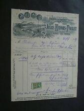 FACTURE FABRIQUE CIERGES BOUGIES JULES HAYOIS-PAULET NIMY LEZ MONS   1939