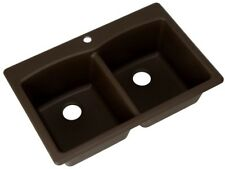 33 x 22 x 9 in Double Bowl Brown Kitchen Sink Basin Composite Granite Dual Mount