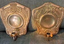 Unusual Brass Candle Wall Sconces With Faces