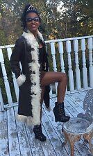 Designer full length Sable brown leather & mongolian lamb Fur Coat jacket S 0-6