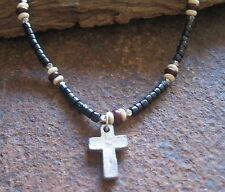 Herren Kette Kreuz schwarz Surferschmuck Kreuzkette Halskette Holz Surferkette