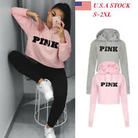 Women's Long Sleeve Hoodie Sweatshirt Hooded Jumper Sweater Crop Pullover Tops
