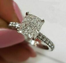 in Solid 14K White Gold 3.56ct Cushion White Diamond Engagement Ring