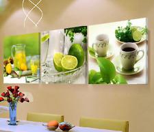[Unframed] Green Lemon Lime Modern Canvas Wall Art Picture Prints Kitchen Decor