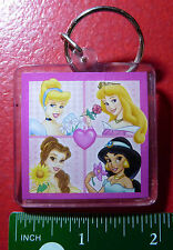 Collectible Plastic Keyring Disney Princess ! Belle Cinderella Aurora & Jasmine