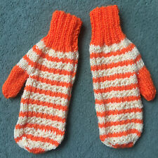 Ladies Hand Knitted Mittens In Orange And Yellow Stripes